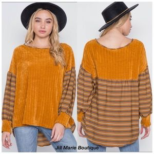 Chenille sweater billow sleeves mustard S, M, L